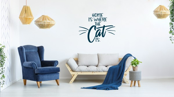 Wandtattoo: Home is where the cat is